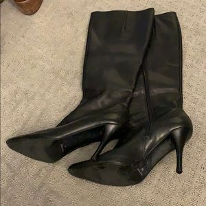 Nine West black leather heeled tall boots size 7.